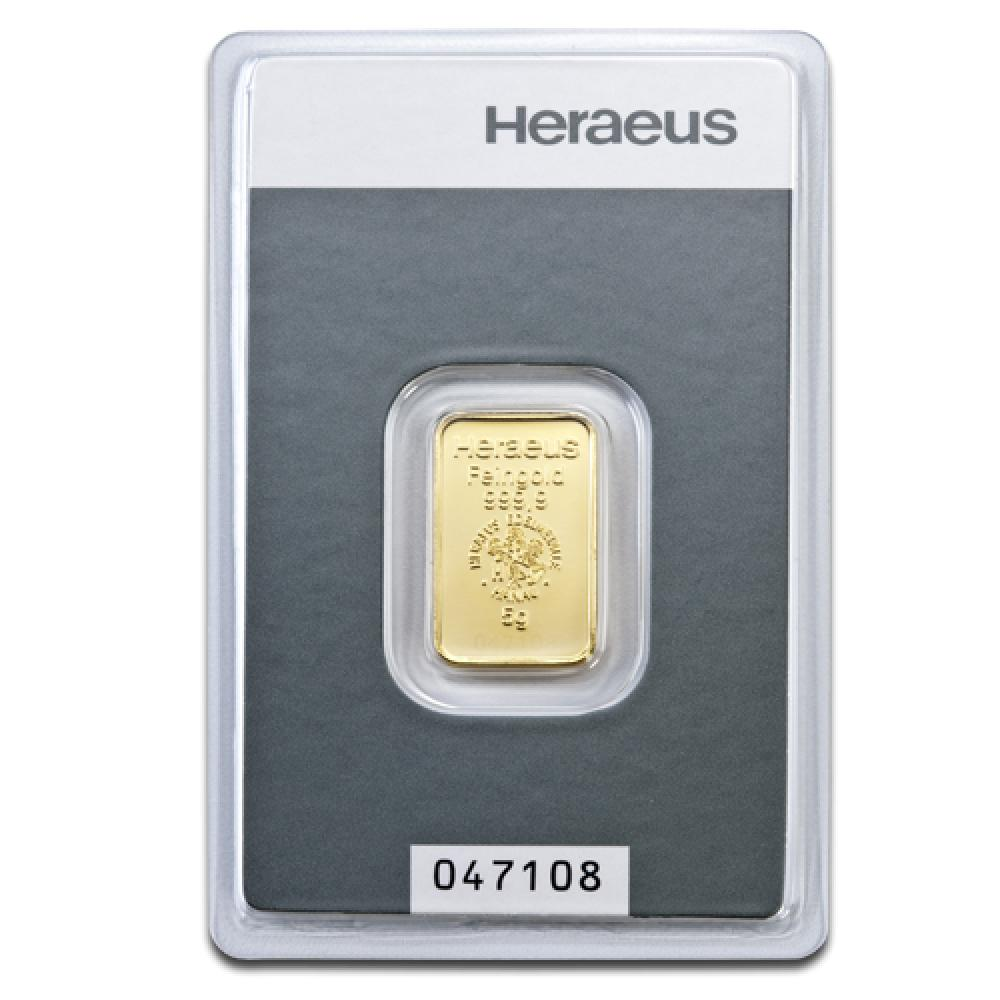 goldbarren 5g von heraeus mit einem feingehalt von 999 9. Black Bedroom Furniture Sets. Home Design Ideas